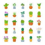 Houseplants Flat Vector Icon Pack stock illustration