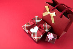 Gift boxes and gift bag Royalty Free Stock Photo