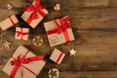 Gift boxes with gingerbread top view royalty free stock photo