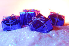 Gift boxes on glitter Royalty Free Stock Photo