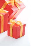 Gift boxes with gold ribbon Stock Photo