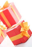 Gift boxes with gold ribbon Royalty Free Stock Photo