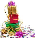Gift boxes and gold ribbon Stock Image