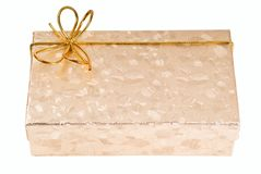 Gift boxes with gold ribbon Royalty Free Stock Image