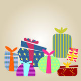 Gift boxes. Graphic design - Gift boxes of different patterns, vintage Royalty Free Stock Photo