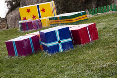 Gift boxes in the grass Royalty Free Stock Photo
