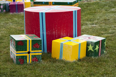 Gift boxes in the grass Stock Photo