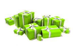 Gift boxes in green. 3D rendering of a big group of green gift boxes with a white ribbons in different sizes Royalty Free Stock Photos