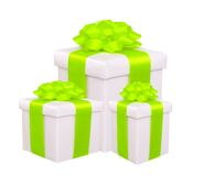 Gift boxes with green bow isolated on white Stock Photo