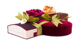 Gift boxes with a green bow on white background Stock Image