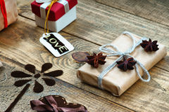 Gift boxes, handmade flower and word Love Royalty Free Stock Photography