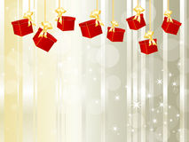 Gift boxes hanging on a chain Royalty Free Stock Images
