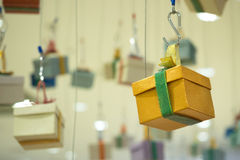 Gift boxes hanging Stock Photos