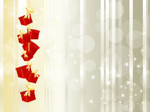 Gift boxes hanging on a string Royalty Free Stock Image