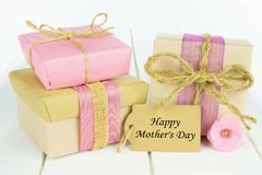 Gift boxes with Happy Mother's Day tag Stock Photo