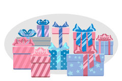 Gift boxes heap vector illustration. Gift boxes heap for holiday christmas and birthday. Vector illustration vector illustration