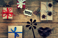 Gift boxes, heart shape and word Love Stock Photos