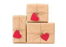 Gift boxes heart-shaped labels Royalty Free Stock Image