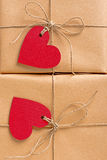 Gift boxes heart-shaped labels Royalty Free Stock Images