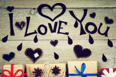 Gift boxes, heart shapes and words I Love You Stock Image