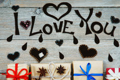 Gift boxes, heart shapes and words I Love You Royalty Free Stock Photography