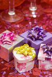 Gift boxes with hearts Royalty Free Stock Photography