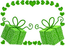 Gift boxes and hearts green Christmas gift tag Stock Photos