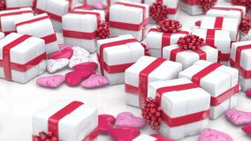 Gift boxes and hearts. Valentine`s day background stock video footage