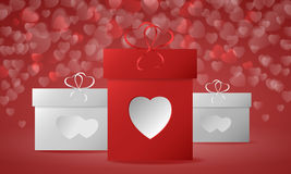 Gift boxes with hearts. Gift boxes on Valentine`s Day. Red heart bokeh background. Vector illustration Royalty Free Stock Photo