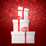 Gift boxes with hearts. Gift boxes on Valentine`s Day. Red heart bokeh background. Vector illustration Stock Photo