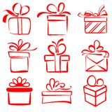 Gift Boxes Icon Set Sketch Vector Illustration Royalty Free Stock Photos