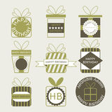 Gift boxes, icons, festive set. For design Royalty Free Stock Image