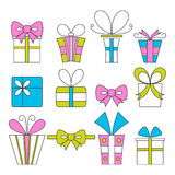 Gift boxes, icons, festive set Stock Photos