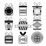 Gift boxes, icons, happy birthday, set Royalty Free Stock Image