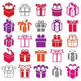 Gift boxes icons isolated on white background vector set, surpri. Se simplistic symbols vector collections royalty free illustration