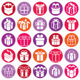 Gift boxes icons isolated on white background vector set, surpri. Se simplistic symbols vector collections stock illustration