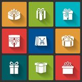 Gift boxes icons Stock Images