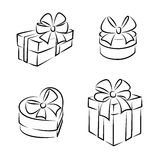 Gift boxes. Icons or symbols, black and white, isolated Royalty Free Stock Images