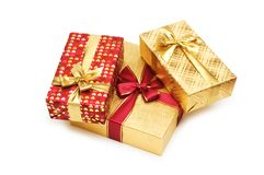 Gift boxes isolated. On the white background Royalty Free Stock Photo