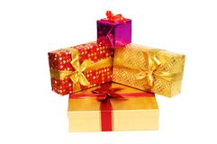 Gift boxes isolated. On the white background Royalty Free Stock Image
