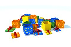 Gift boxes - isolated illustration Stock Photos