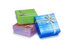Gift boxes isolated on the white background. Gift boxes isolated  on the white background Royalty Free Stock Photography