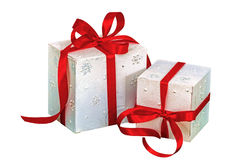 Gift boxes, isolated on white background Royalty Free Stock Photos
