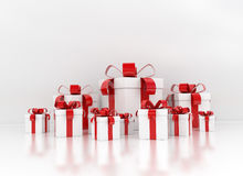 Gift boxes large group with red ribbon Royalty Free Stock Images