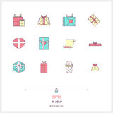 Gift boxes line color icons set. Lots of presents. Stock Photo