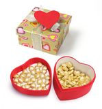 Gift Boxes with Love Heart Royalty Free Stock Photography