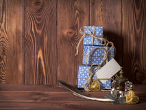 Gift boxes lying on the table Stock Photography
