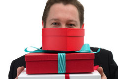 Gift boxes Man Royalty Free Stock Photo