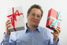 Gift boxes Man Stock Images