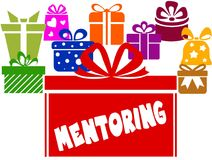 Gift boxes with MENTORING text. Illustration image concept Royalty Free Stock Photography